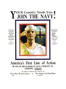Join the Navy, Your country Needs You, c.1916 by Rolf Armstrong