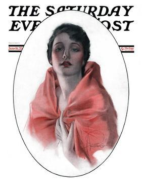 """Woman in Shawl,"" Saturday Evening Post Cover, June 16, 1923 by Rolf Armstrong"