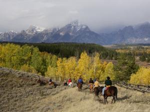 Tourists Enjoying Horseback Riding, Grand Teton National Park, Wyoming, USA by Rolf Nussbaumer