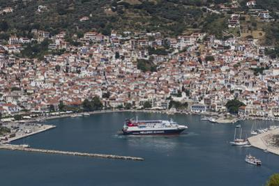Aerial View of Ferry in Harbour, Skopelos, Sporades, Greek Islands, Greece, Europe by Rolf Richardson