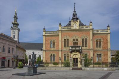 Bishop's Palace, Zmaj statue and Orthodox Cathedral, Novi Sad, Vojvodina, Serbia, Europe by Rolf Richardson