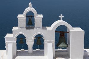 Church Bells, Oia, Santorini, Cyclades, Greek Islands, Greece by Rolf Richardson