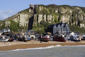 Fishing Fleet Drawn Up on Beach and East Hill Lift, Hastings, Sussex, England, United Kingdom by Rolf Richardson