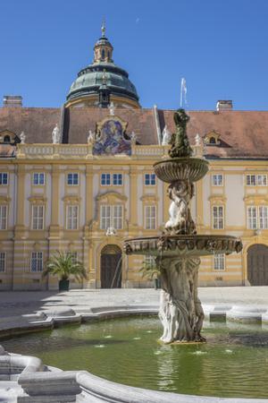 Fountain in courtyard of Abbey, Melk, UNESCO World Heritage Site, Lower Austria, Austria, Europe by Rolf Richardson