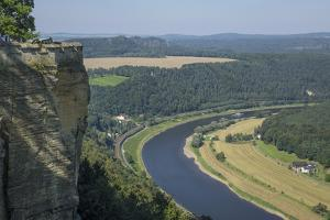 River Elbe from Schloss Konigstein, Saxony, Germany, Europe by Rolf Richardson