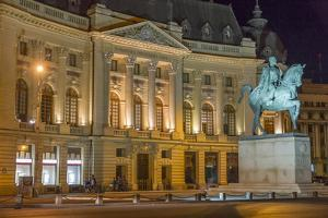 University Library and Statue of King Carol I, Bucharest, Romania, Europe by Rolf Richardson