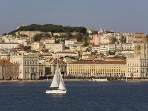 View from River Tagus, Showing Praca Comercio, Castle and Cathedral, Lisbon, Portugal by Rolf Richardson
