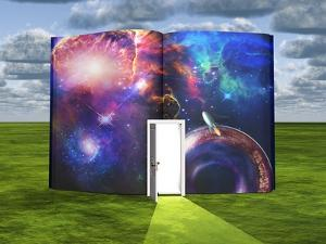 Book With Science Fiction Scene And Open Doorway Of Light by rolffimages