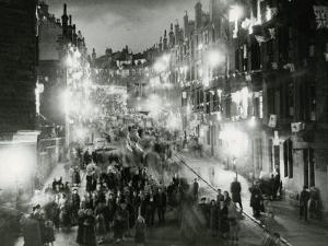 Rolland Street Maryhill Glasgow June 1953 Coronation Illuminations Decorations Crowds in Street