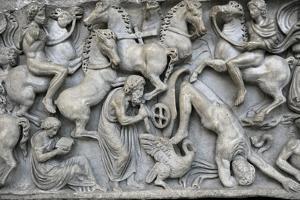 Roman Art. Sarcphagus Chest with the Phaeton Myth. Fall of Phaeton. Ny Carlsberg Glyptotek