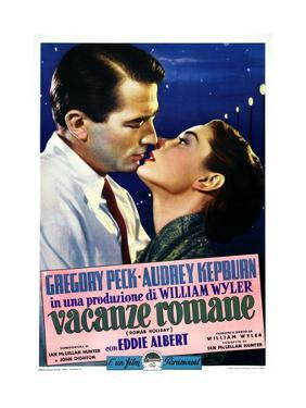Roman Holiday, Left to Right: Gregory Peck, Audrey Hepburn on Italian Poster Art, 1953