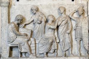 Roman Relief of Sacrifice Scene During a Census