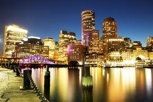 Boston Skyline with Financial District and Boston Harbor by Roman Slavik