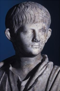 Togate Statue of the Young Nero, Front View of the Head, C.50 Ad (Marble) (Detail of 140378) by Roman