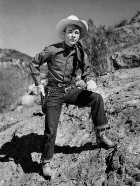 Roy Rogers Posed on a Hill by Romance Range