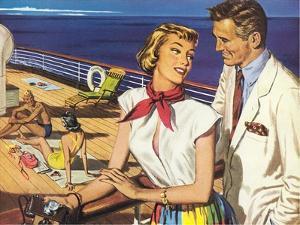 Romantic 1950s Couple on Cruise Ship