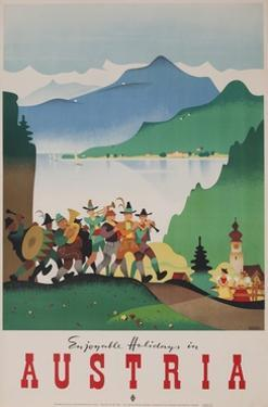 Romantic Holiday in Austria Travel Poster