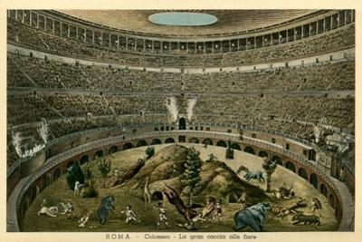 Rome, Italy, Illustration of Spectacle in Coliseum