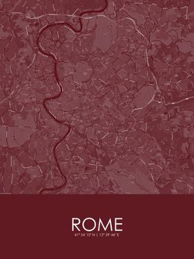Rome, Italy Red Map