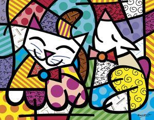 Happy Cat and Snob Dog by Romero Britto