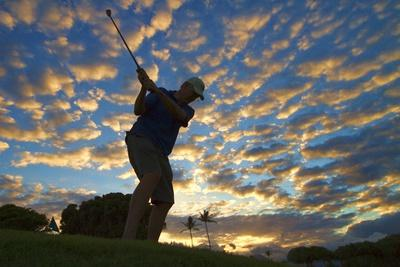 Silhouette of Golfer at Sunset, Maui, Hawaii