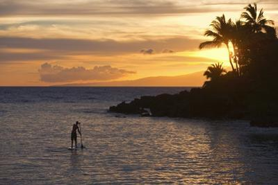 Stand-Up Paddler at Sunset on Maui, Hawaii by Ron Dahlquist