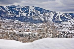 Steamboat Springs Ski Area and Town by Ron Dahlquist