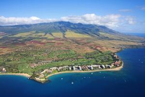 West Maui Mountains Behind Kaanapali Beach by Ron Dahlquist
