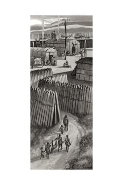Fortified Huron Village by Ron Embleton