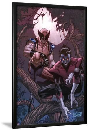 Wolverine Weapon X No.16 Cover: Nightcrawler and Wolverine Crouching in a Tree at Night by Ron Garney