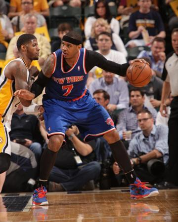 Indianapolis, IN - May 14: Carmelo Anthony and Paul George by Ron Hoskins