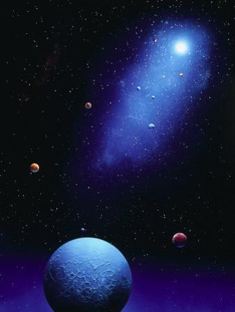 Illustration of Blue Planets and Stars by Ron Russell