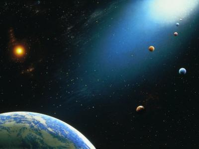 Illustration of Earth and Space by Ron Russell