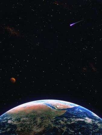 Illustration of Earth, Comet and Planet by Ron Russell