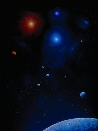Illustration of Planets and Stars by Ron Russell