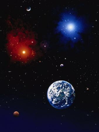 Space Illustration of Earth and Planets by Ron Russell