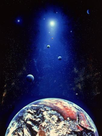Space Illustration of the Earth and Planets by Ron Russell
