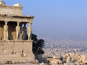 Carytids of Acropolis Overlooking Athens by Ron Watts