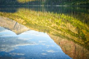USA, Montana, Glacier National Park. Two Medicine Lake with Mountain Reflections by Rona Schwarz