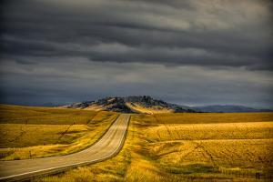 USA, Montana. Highway En Route to Helena from Glacier National Park on Stormy Day by Rona Schwarz