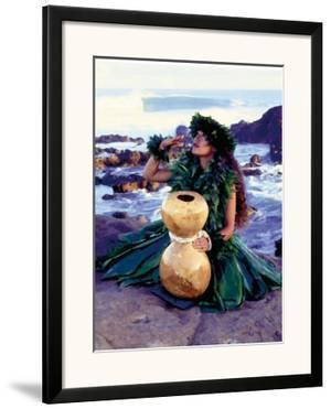 Grateful, Hula Girl with Ipu Drum, Hawaii by Ronald Laes