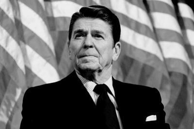 Ronald Reagan American Flag Black White Plastic Sign
