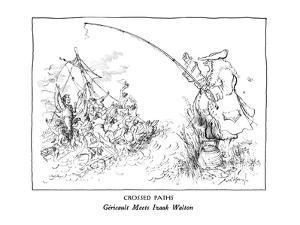 CROSSED PATHS-Géricault Meets Izaak Walton - New Yorker Cartoon by Ronald Searle