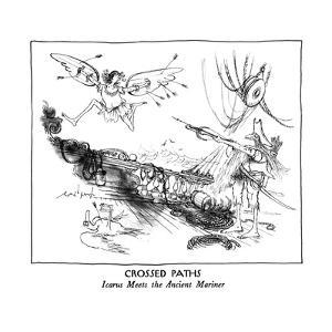 CROSSED PATHS-Icarus Meets the Ancient Mariner - New Yorker Cartoon by Ronald Searle