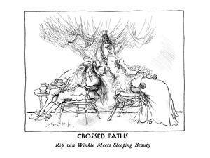 """Crossed Paths: """"Rip van Winkle Meets Sleeping Beauty."""" - New Yorker Cartoon by Ronald Searle"""