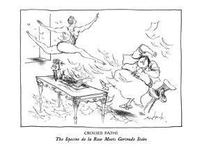 CROSSED PATHS-The Spectre de la Rose Meets Gertrude Stein - New Yorker Cartoon by Ronald Searle
