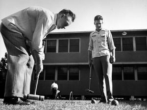 Rookies Playing Croquet to Relax During the Dodgers Spring Training