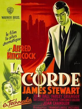 ROPE, (aka LA CORDE), French poster, James Stewart, Joan Chandler (bottom right), 1948