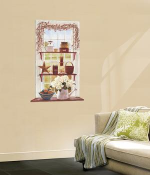 Rose Hip Swag Trompe D?Oiel Window Accent Wall Decal