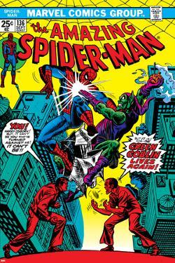 The Amazing Spider-Man No.136 Cover: Spider-Man and Green Goblin by Ross Andru